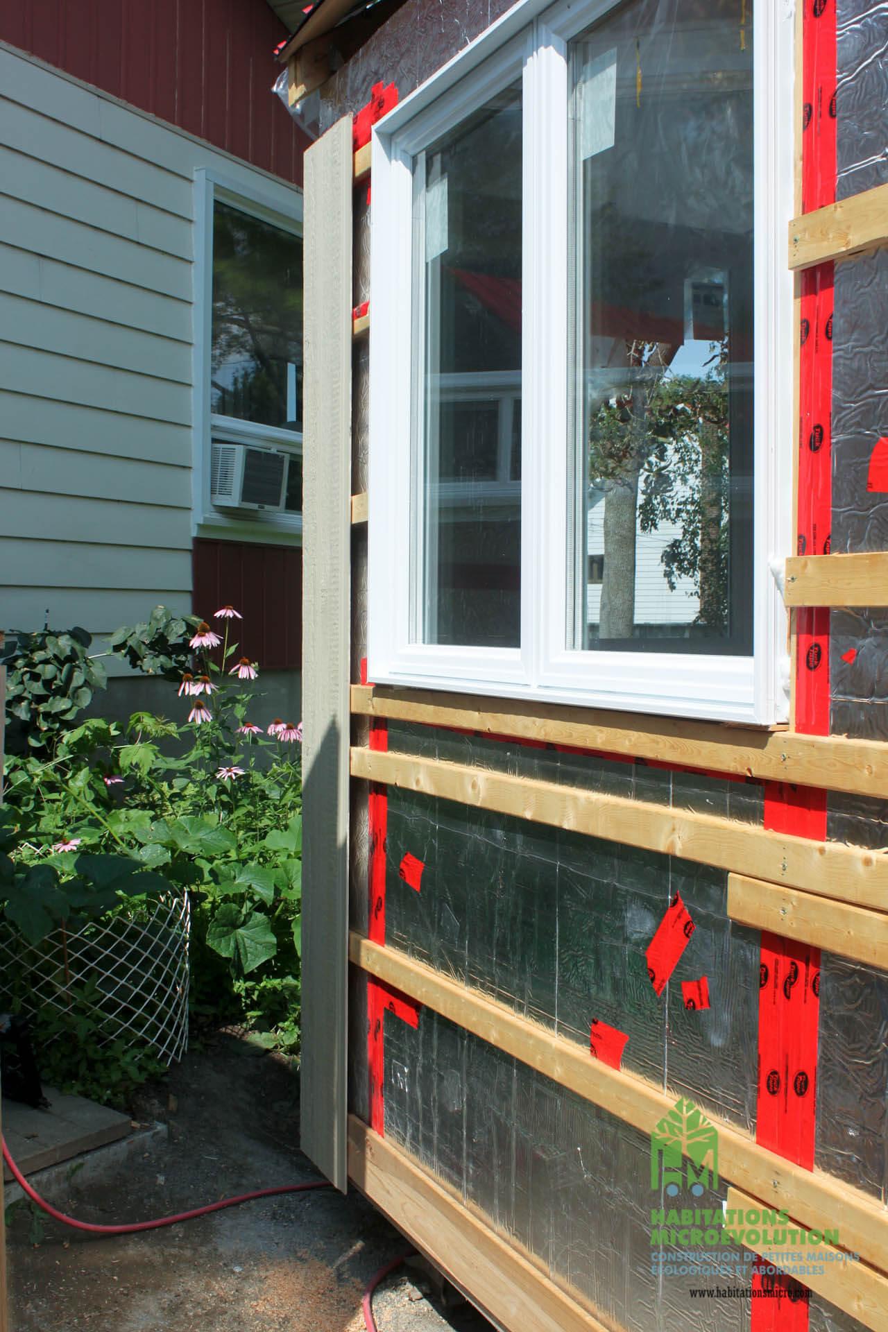 Installation du parement extérieur
